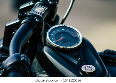 Reims France October 26, 2019 Closeup of a Harley Davidson motorbike parked in the streets of Reims in the afternoon