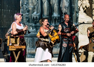 Reims France Saturday June 1, 2019 View of unknown musicians playing medieval music during the Johanniques festival, annual French celebration in Reims to commemorate the coronation of Charles VII