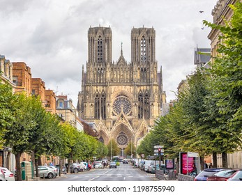 Reims, France - September 21, 2018: Gothic cathedral Notre-Dame de Reims, view from Rue Libergier