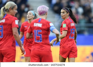 REIMS, FRANCE-JUNE 11: Alex Morgan of USA in action during the 2019 FIFA Women's World Cup France group F match between USA and Thailand at Stade Auguste Delaune