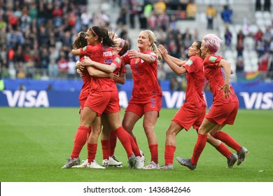 REIMS, FRANCE-JUNE 11: Players of USA celebrates after scoring during the 2019 FIFA Women's World Cup France group F match between USA and Thailand at Stade Auguste Delaune