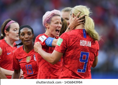 REIMS, FRANCE-JUNE 11:Megan Rapinoe of USA celebrates after scoring during the 2019 FIFA Women's World Cup France group F match between USA and Thailand at Stade Auguste Delaune