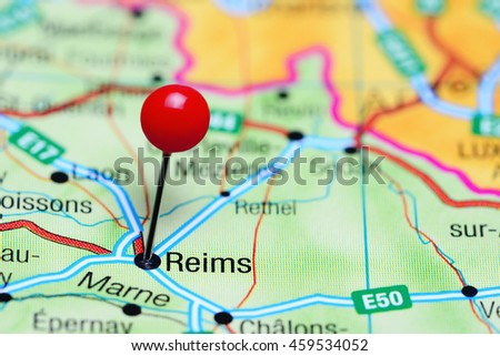 Reims Pinned On Map France Stock Photo (Edit Now) 459534052 ...