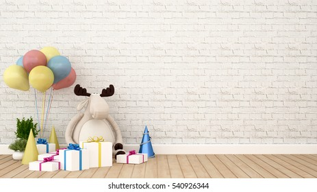 reindeer doll with gift and balloon in kid room - 3D Rendering