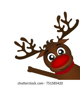 Reindeer peeking sideways on a white background