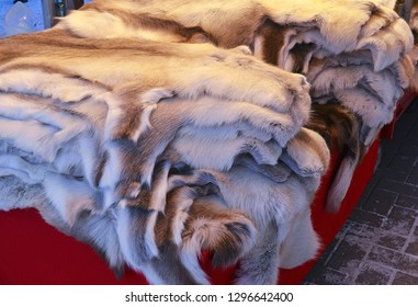 Reindeer pelts for sale in Lapland Finland