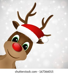 Reindeer with red nose and Santa hat. Illustration.