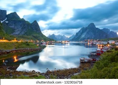 Reine fishing village among mountains in Lofoten Islands, Norway