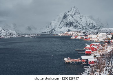 Reine fishing village on Lofoten islands with red rorbu houses in winter with snow. Norway