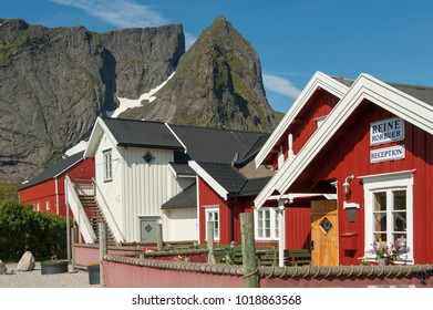 REINE, NORWAY - JULY 5: Typical rorbu cottages on July 5, 2011 in Reine. These have traditional seasonal cottages used by fishermen in Lofoten have been modernized to be use by tourists.