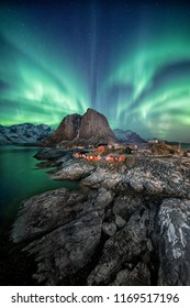 Reine, Norway under the northern lights