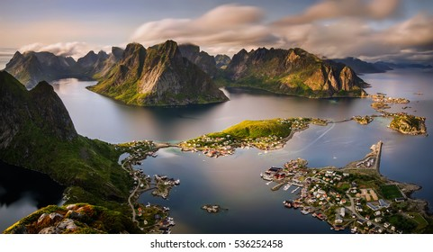 Reine village and fjord among mountains of Moskenesoya, Lofoten