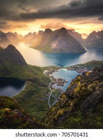 Reinebringen Reine Norway fjord landscape in a beautiful light behind mountains