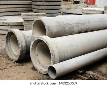 Reinforced concrete products, finished goods warehouse. Reinforced concrete pipes.