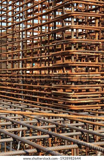 Reinforced steel bars on construction site
