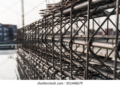Reinforcement of concrete work. Using steel wire for securing steel bars with wire rod for reinforcement of concrete or cement. focus to steel wire