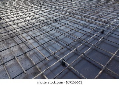 reinforcement metal framework for concrete pouring. Ready for filling up with concrete