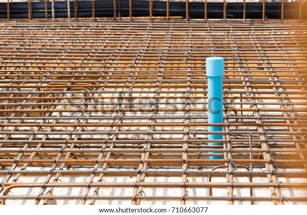 Reinforcement Metal Framework Pipe System Drainage Stock Photo (Edit