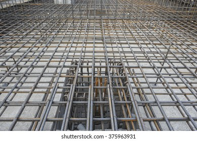 Reinforcement re-bar of sump pit in construction site