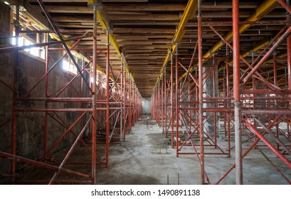 reinforcement and scaffolding at a construction site