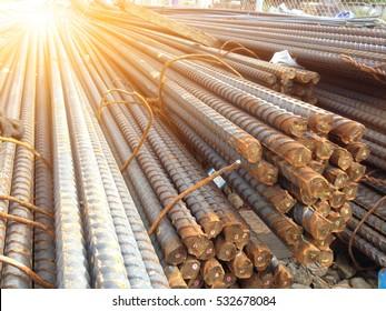 Reinforcing Steel Bar background, Rebar for concrete construction work