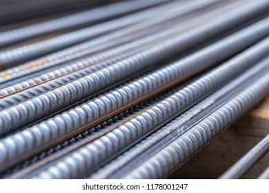 Reinforcing steel bar background, shallow depth of field