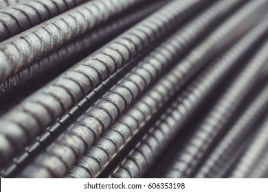 Reinforcing Steel Bar closeup, Rebar for concrete construction work
