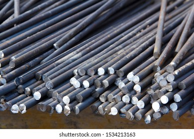 Reinforcing steel bars for building new concrete structures. Base for pouring concrete. Concrete construction.