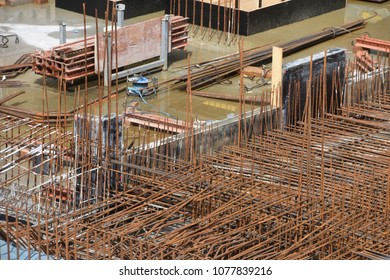 Reinforcing steel in new foundations