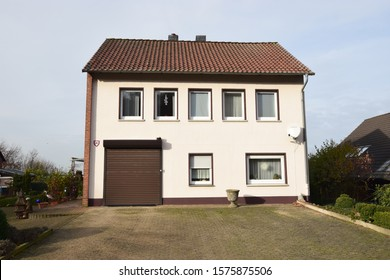 Reinsen, Germany - December 1, 2019: Two-storey residential house in the style of the 60s