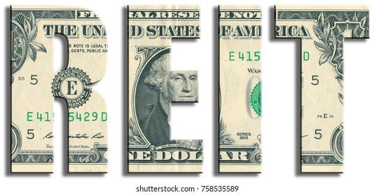 REIT, Real Estate Investment Trust. US Dollar texture.