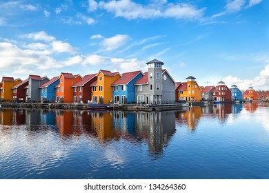 Reitdiephaven - colorful buildings on water in Groningen, Netherlands