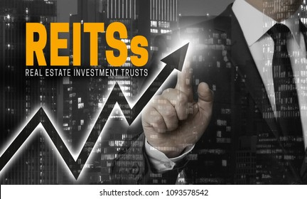 Reit's concept is shown by businessman.