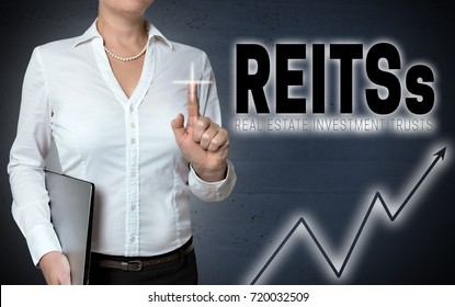 Reits touchscreen is shown by businesswoman.