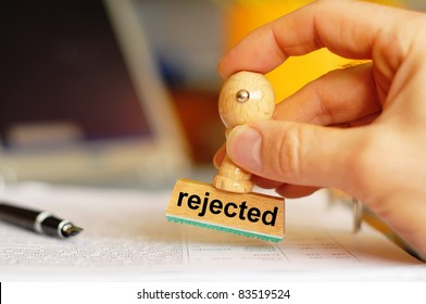 rejected concept with stamp in business office showing rejection concept