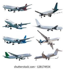 Rel jet planes set, isolated on white background
