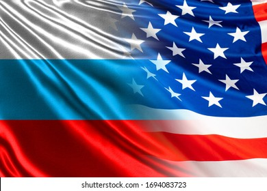 Relations between Russia and the USA. Concept - negotiations between Trump and Putin. Flags of America and Russia are nearby. International relationships. Geopolitics. United States. Russian flag