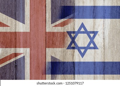 Relationship between the Britain and Israel, The flags of Britain and Israel merged on weathered wood