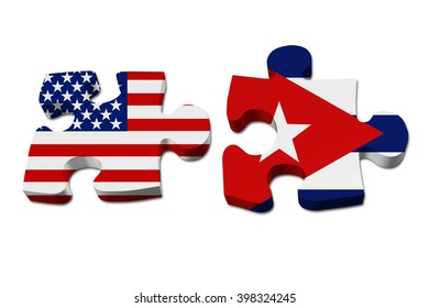 Relationship between the United Stated and Cuba, Two pieces of a puzzle with the American flag on one and the Cuban flag on the other isolated over white