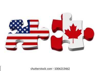 Relationship between the USA and Canada, Two puzzle pieces with the flags of USA and Canada isolated over white 3D Illustration
