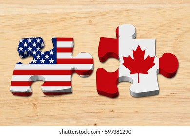 Relationship between the USA and Canada, Two puzzle pieces with the flags of USA and Canada on wood 3D Illustration