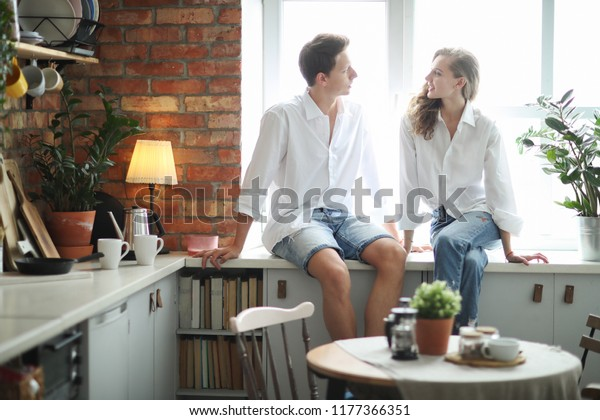 Relationship Cute Couple Kitchen Stock Photo Edit Now 1177366351
