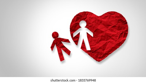 Relationship loss concept and broken heart or breakup idea as a separation and divorce icon as as a torn love and losing a lover or loved one.
