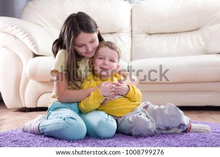 Relationship Siblings Brother Sister Hug Friendship Stock Photo