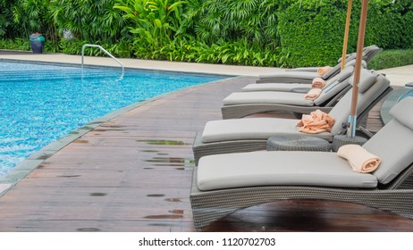 Relax area Beside a pool, summer concept background.