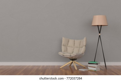 Relax area in a modern living room with a chair; book and lamp. Minimal style concept.