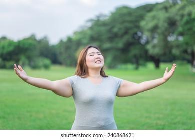 relax beautiful fatty woman get god bless in the garden
