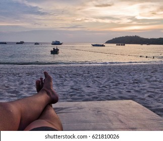 Relax by the sea to watch the sunset in holiday at long beach and background