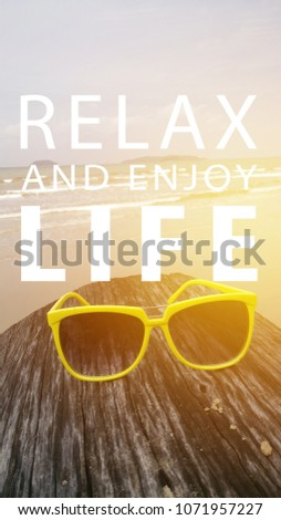 Relax Enjoy Quotes Against Beach View Stock Photo Edit Now