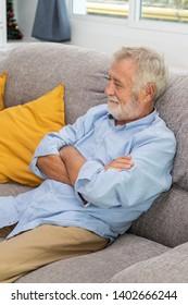 Relax happy senior old man eldery sitting on comfortable sofa in living room